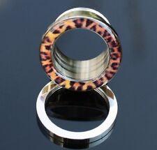 Flesh Tunnel Plug Piercing mit Leopard-Look  YWHY186
