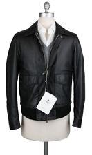 New $2650 Luigi Borrelli Black Leather Solid Jacket - (OW3121X10)