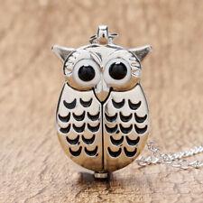 Novel Silver/Bronze Night Owl Wing Animal Women Men Quartz Pocket Watches Gift