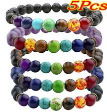 5Pk 7 Chakra Healing Beaded Bracelet Natural Lava Stones Diffuser Bracelet