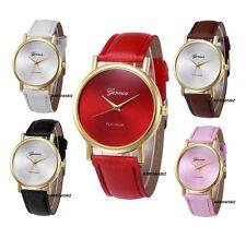 Reloj de Pulsera señoras Analógico Dial Geneva Llanura correa de cuero reloj de regalo de 6 Colores