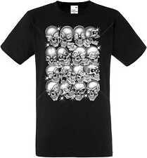 T Shirt im Schwarzton mit einem Gothik-,Biker-&Tattoomotiv Modell Skulls Bling