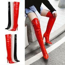 Sexy Women Overknee High Thigh Zip Boots Pointed Toe Stilettos Heel T Show 34-48