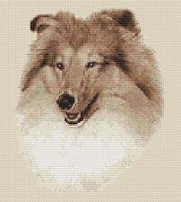 "Sheltie Dog Cross Stitch Design (Sepia,9""x10"",23x25cm,kit or chart)"
