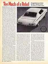 "1970 AMC REBEL ""THE MACHINE"" 390/340 HP ~ ORIGINAL 4-PG ROAD TEST / ARTICLE / AD"
