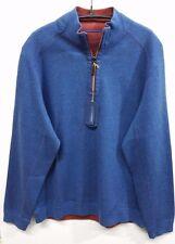 NEW TOMMY BAHAMA Flip side Twill Reversible Half Zip Pullover T211442 Hawa Blue