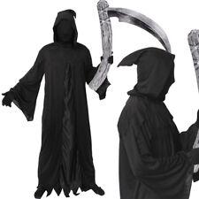 Adultos GRIM REAPER Halloween para hombre Negro Fancy Dress Costume Horror Muerte Manto