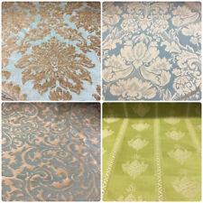 Aqua Blue Beige Buttercream Damask Brocade Velvet Upholstery Drapery Fabric