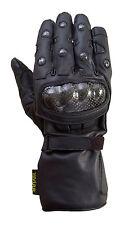 Motorcycle Carbon Fiber Knuckle 100% Drum Dyed Cowhide Winter Glove Black MG1