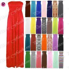 Womens Ladies Strapless Sheering Boobtube Bandeau Long Maxi Dress Plus Size 8-24