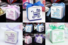 10x Pram Square Baby Shower Thank You Christening Bomboniere Favour Boxes+Ribbon