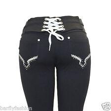 Nuevo Para Mujer Talla Grande Negro Elástico Diamante Con Cordones Jegging Jeans Calzas