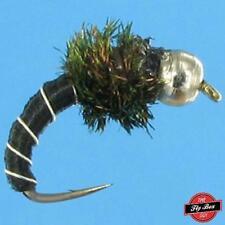 Zebra Midge BLACK Premium Fishing Flies- One Dozen - Select Sizes***