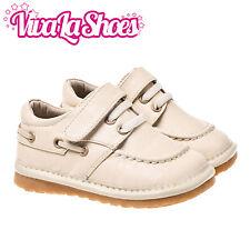 Garçons toddler infantile enfants cuir squeaky shoes-couleur crème wide fit