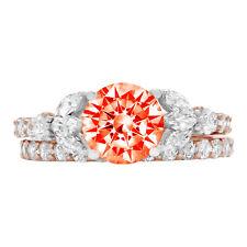 2.72 Round Marquise 3stone Red Stone Wedding Statement Ring set 14k 2tone Gold