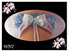 Personalised Wedding Garter BRIDE & GROOM NAMES Ceremony's DATE something blue