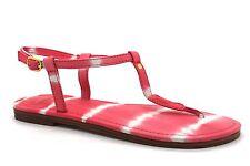 Donchoo Bien Womens UK 4, 5 & 6 Pink Coral Tie Dye Leather Toe Post Flat Sandals