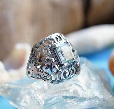 Silberring 54 Blautopas Silberring Elegant Hellblau Antik Design Breit Verspielt