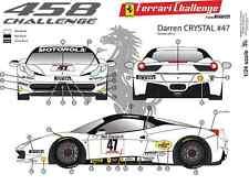 "[FFSMC Productions] Decals 1/24 Ferrari F-458 Challenge ""Darren Crystal"" 2012"