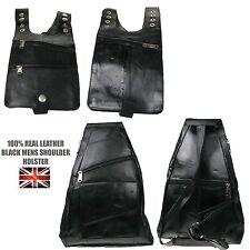 New Quality Black Leather Mens Travel Money Security Shoulder Holster & Backpack