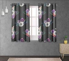 S4sassy Leaves & Anemone Print Eyelet short & long Window Panel Curtains-FL-688F