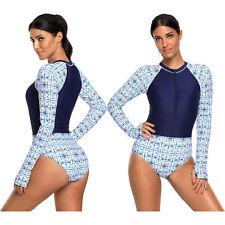 Print zip high neck long sleeve rashguard swimsuit swimming pool womens swimwear