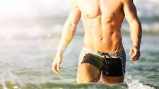 Aussiebum 70's swim Trunks Square Cut Shorts Retro speedo Grey SIZE S M L XL XXL