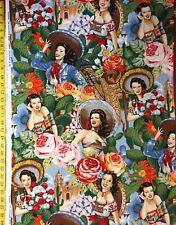 Las Señoritas Bright Alexander Henry Fabric Spanish Mexican Pinup