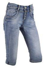 Jewelly Capri Jeans Hose Classic 3/4 Stretch Bermuda Baggy Boyfriend Blau Shorts
