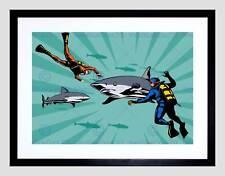Pintura Diver Great White miedo dientes aleta de tiburón impresión de arte enmarcado montaje B12X8466