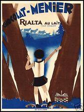 PUBBLICITA' 1933 CIOCCOLATO MENIER CHOCOLAT BOSCO PASCOLO MONTAGNA NOISIEL FOOD