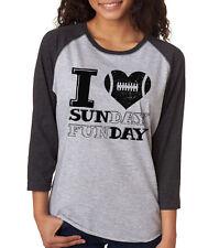 I LOVE SUNDAY FUNDAY football season heart nfl gift Women's 3/4 Sleeve T-Shirt