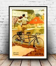 Hercules Tandem, el ciclo de reproducción de publicidad cartel vintage.