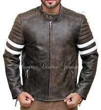 Mens Vintage Biker Fight Club Leather Jacket