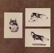 Set of 6 or 12 Handmade Blank Husky Dog Print Note Cards