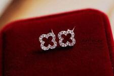 Super Sparkling *Four-leaf Clover* Silver/Gold GP Cubic Zirconia Stud Earring