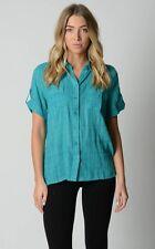 Millers Ladies Short Sleeve Lurex Check Shirt sizes 14 16 Colour Emerald