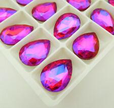gules AB color Glass Rhinestone Crystal Teardrop Fancy Big Stone Lot Size Choice
