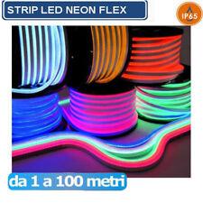 STRISCIA STRIP FLEX LED BOBINA NEON RGB SPINA 220V BIANCA TUBO ESTERNO 1 A 100 M