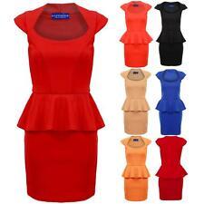 Women's Peplum Cap Sleeve Frill Pencil Ladies Bodycon Short Dress Sizes 14 - 20