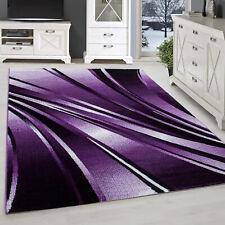 Tapis Moderne Design Salon à Poils Ras Abstrait Vagues Motif Violet Mauve