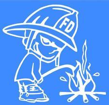Firemen Firefighter Calvin Peeing Window Sticker Decal