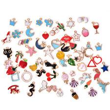 30PCS/Set Enamel Animal Moon Star Fruit Charms Pendant DIY Craft Jewelry Making