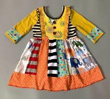 NEW Girls Boutique Multi Print Long Sleeve Ruffle Dress 5-6 6-7 7-8