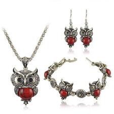 Retro Owl Jewelry Sets Pendant Charm Woman Necklace Earrings Bracelet G