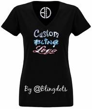 Custom bling T shirt V neck Sequins Glitter Logo Tee No rhinestones sparkly