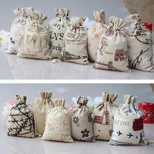 1/5/10x Small Burlap Jute Hessian Wedding Favor Gift Bag Drawstring Pouch Sack)