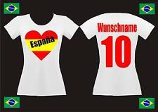 EM 2016 Fan Shirt Spanien Espana Lady Damen T-Shirt Trikot + Herz + Wunschdruck