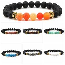 Fashion Colorful Natural Lava Stone Gemstone Energy Reiki Mens Bracelets Jewelry