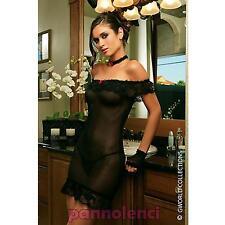 Vestido de mujer intimo minivestido encaje collar tanga lencería nuevo D9018